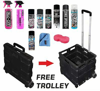 Muc-Off Motorbike Cleaning Care Kit Chain Lube/Nano/Silicon FREE Folding Trolley
