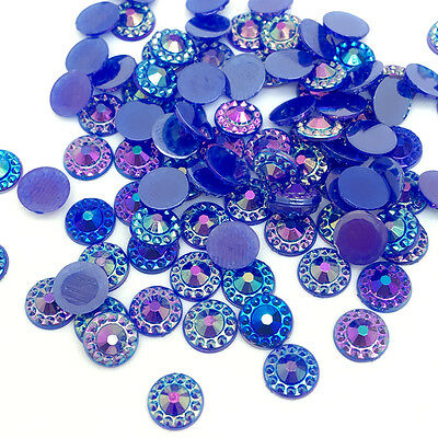 New 200pcs 6mm Flat back Blue Resin Sunflower Jelly drill DIY Phone Craft AB