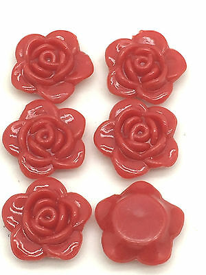 New Hot 30pcs 15mm Resin Rose Flower Flatback Appliques For Phone/Crafts DIY Red