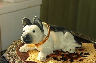 Vintage Nodder/bobble Head Flocked Dog Husky?