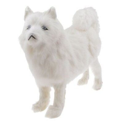 Dog Samoyed Model Simulation Plush Statue Table Home Decor Toy Kid Doll L