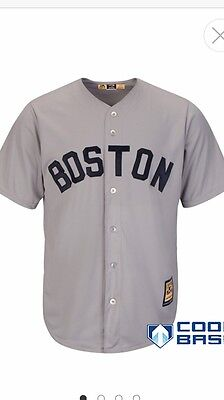 Majestic Boston Red Sox Cooperstown Cool Base Grey Baseball Jersey Size Small