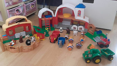 grande ferme +accessoires + animaux + personnages little people fisher price