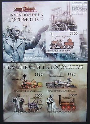 Burundi 2012 - Locomotives, 1 M/Sh and 1 S/S, not perforated, MNH, E 4900a