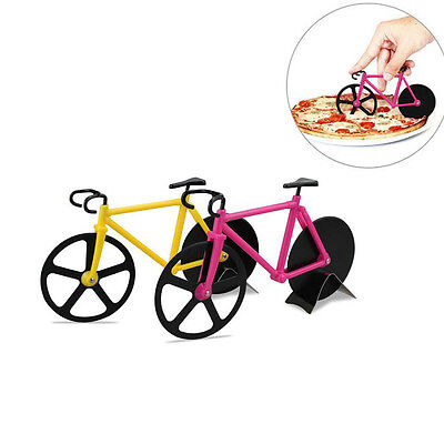 Bike Bicycle Pizza Cutter Non-stick Stainless Steel Wheel Knife Slicer Novelty