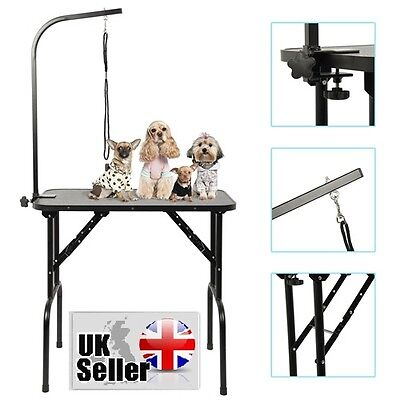 Dog Pets Folding Grooming Trimming DressingTable Portable Adjustable With Arm No