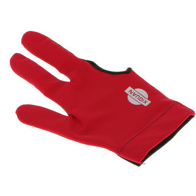 Red Snooker Pool Glove Billiard Cue Shotter 3 Fingers Glove Fit Right Hand