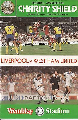 Football Programme - Liverpool v West Ham - Charity Shield - 9/8/1980