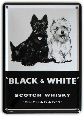 BLACK & WHITE SCOTCH WHISKY Small Metal Tin Pub Sign