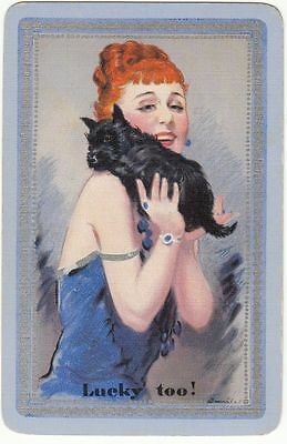 "Playing Swap Cards  GENUINE 1 only single LADY with SCOTTY DOG ""LUCKY TWO"""