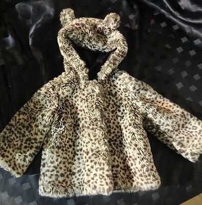 M&s Girls Winter Faux Fur Coat Age 2-3 Years