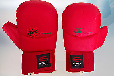 WKF Approved Elastic Closure Karate Competition Gloves Mitts w/ Thumbs Red Sz L