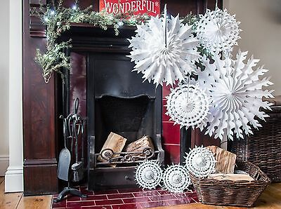 Paper Snowflake Shabby Chic Christmas Hanging Decorations Pack of 7