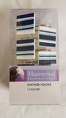 Bathroom Shower Curtain Hanger Hooks Rings Square White with Blue stripes