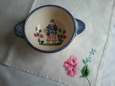 Vintage Quimper Style 2 Handled Pottery Dish,jean.
