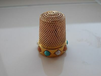 Gold Vintage Thimble With Inset  Stones 5.6 Grams
