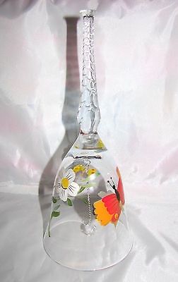 BELL Hand Blown Crystal Hand Painted Flowers Butterflies from Hungary