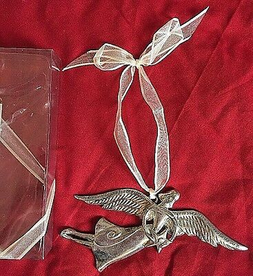 Silver Serenity Angel Quote Christmas Ornament Seasons of Cannon Falls Star EUC