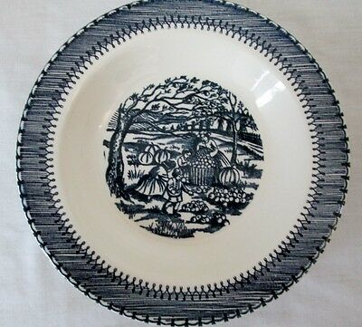 Knowles Currier & Ives Country Life Blue, Soup Bowls, Set of 4