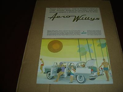 1961 Vintage Portuguese Advertising Aero Willys car original print ad two pages