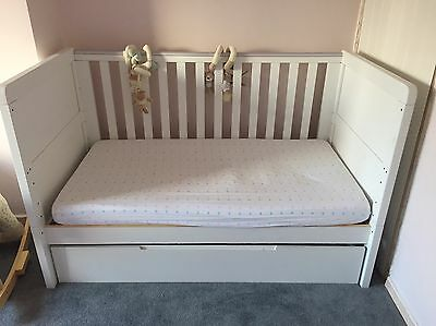 White Cot Bed With Mattress And Drawer