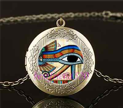 Egyptian EYE OF HORUS Cabochon Glass Brass Locket Pendant Necklace