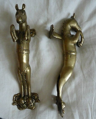 Magnificent pair TIBETIAN brass HORSE door handles.