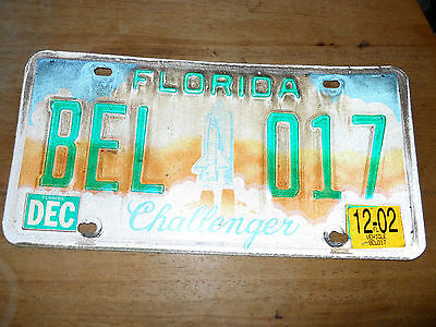 Florida Challenger Tribute License Plate Bumper Tag from the Space Shuttle Era