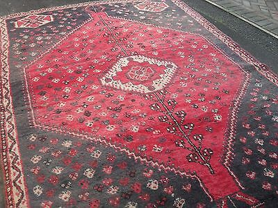 huge very large vintage shabby chic tribal wool rug persian carpet hand knotted