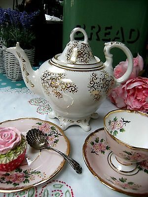 Antique Large Rococo Style Footed Teapot/Tea Pot Gold White Victorian
