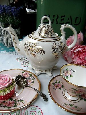 Antique Rockingham? Coalport? Spode? Rococo Style Footed Teapot Gold Victorian