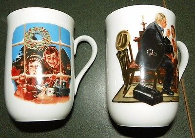 Lot of 2 Norman Rockwell Mugs - Country Doctor - High Hopes - FREE SHIPPING
