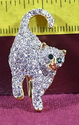 Pave Stalking Cat pin brooch rhinestones crystals gold tone Halloween Good Witch