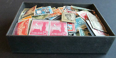 SAAR - OLD BOX FULL OF MINT AND USED STAMPS - EARLY/1959 - FINE LOT - 100s