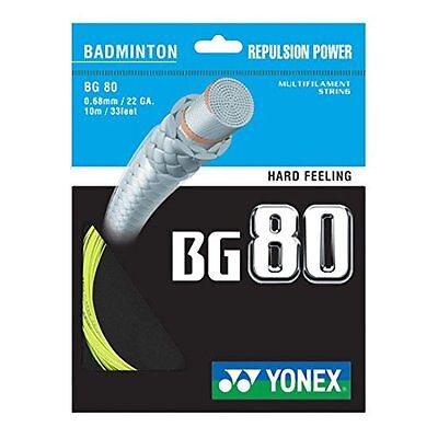 Genuine Yonex BG80 Badminton Racket  String BG 80 - 10m - Yellow - Free UK P&P
