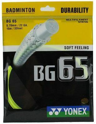Genuine Yonex BG65 - Yellow - Badminton Racket String - 10m - Set - Free UK P&P