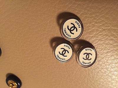 Chanel One Button Clear White Enamel Silver Cc Logo