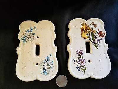 Lot of 2 Vintage Ceramic Floral Motif Light Switch Cover Switchplates