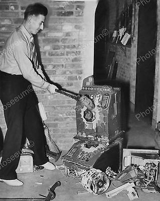 Destroying Slot Machines With Sledge Hammer Classic 8 by 10 Reprint Photograph