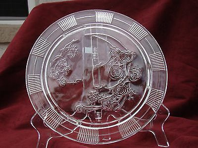 """Vintage Federal Glass Co. Clear 11"""" Sharon/Cabbage Rose Footed Cake Platter 1930"""