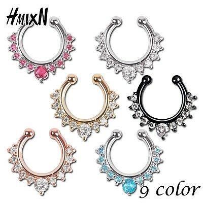 sale fake septum crystal clicker Fake nose Ring Piercing faux Body jewelry Hoop