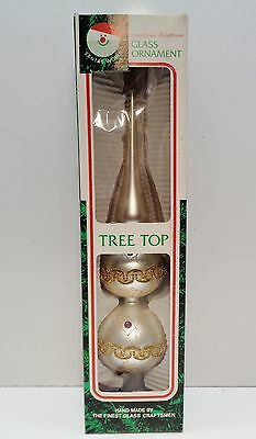 """Vintage KURT ADLER 13"""" GLASS CHRISTMAS TREE TOP TOPPER Silver with GOLD TRIM BOX"""