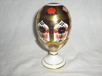 Royal Crown Derby Imari Egg and Stand gold stopper pat no. 1128 boxed