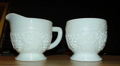 Imperial Milk Glass Marked Creamer & Sugar Bowl Vintage Grapes & Cable EUC