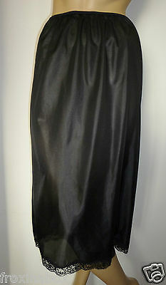 "Black Half Slip Size 10/12 Cling Resist 29"" Inches Length Long Lace Underskirt"