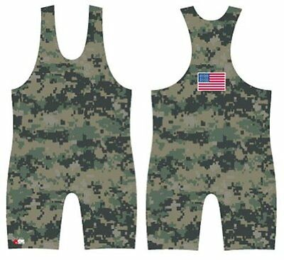 4-Time Camo Sublimated Wrestling Singlet size 3XS