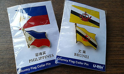 Brunei & Philipines Gold Pin Collar Badges  ~ Llmited Edition