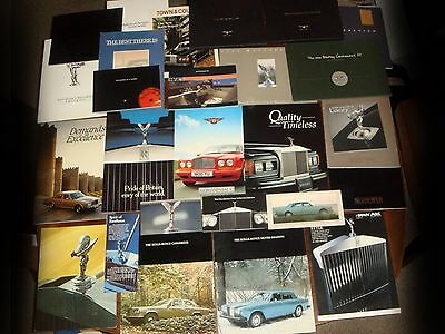 HUGE WHOLESALE LOT of Authentic ROLLS-ROYCE + BENTLEY BROCHURES 1974-2015 EC