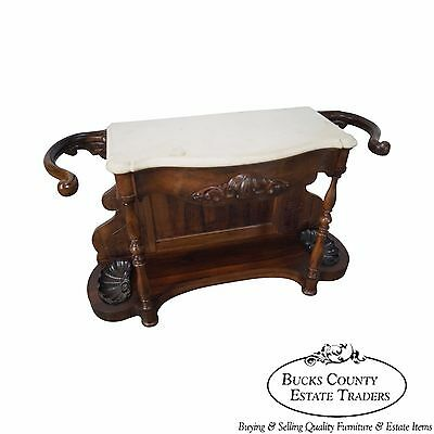 19th Century Victorian Rosewood Marble Top Foyer Console w/ Umbrella Stand