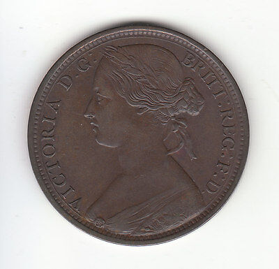 1862 Great Britain Victoria 1 Penny.  NICE GRADE.